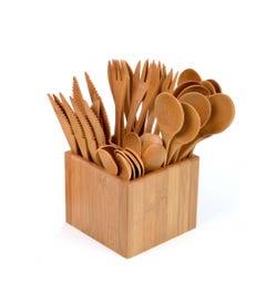 Bamboo Cutlery Set & Holder