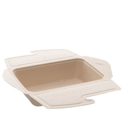 Sugarcane menu box unbleached with lid 1L