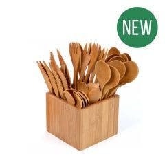 Bamboo Cutlery Set & Holder - New