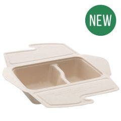 Sugarcane menu box unbleached 800 ml, 2 compartments