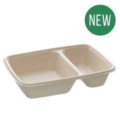 Sugarcane Menu Box Unbleached 800 ml, 2 Compartments - New!