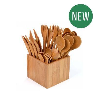 Bamboo Cutlery Set & Holder - New
