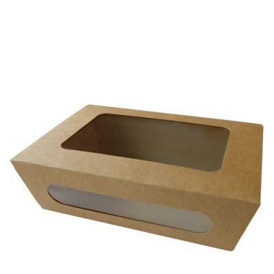 Kraft salad box with PLA window L