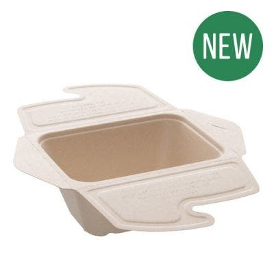 Sugarcane menu box unbleached with lid 750 ml