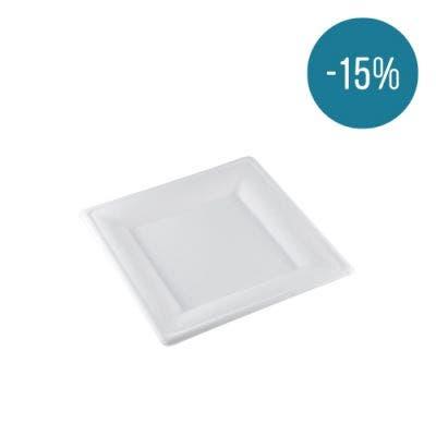 Sugarcane plate square 20 cm - Promo 15%