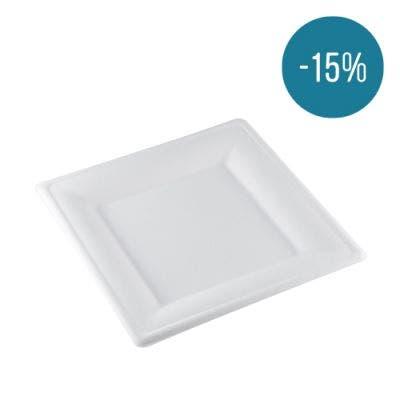 Sugarcane plate square 26 cm - Promo 15%