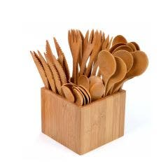 Bamboo Cutlery Set & Holder