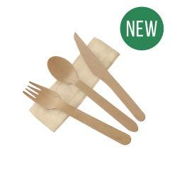 FSC® wooden cutlery set waxed