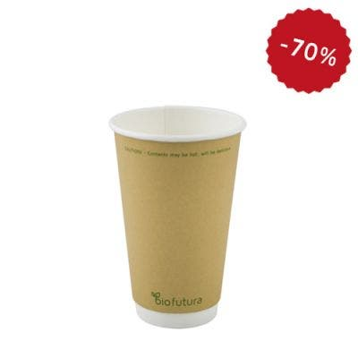 Kraft Coffee Cup 16 Oz 500 Ml Double Wall Bio Futura Sustainable Packaging Disposables