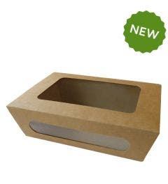 Kraft salad box with PLA window L