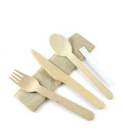 FSC® birchwood cutlery set