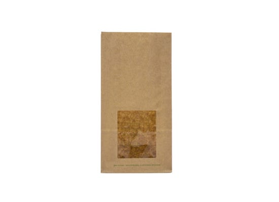 Kraft bloomer bag with PLA window M
