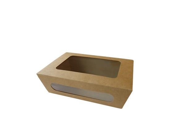 Kraft salad box with PLA window M