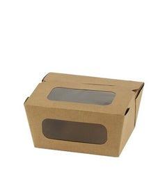 Kraft salad box with PLA window M - 750 ml