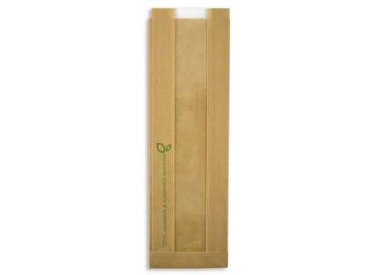 PEFC paper baguette bag with PLA window