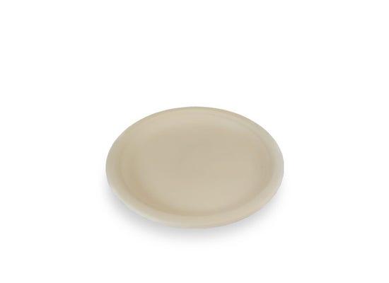 Sugarcane plate round brown 26 cm