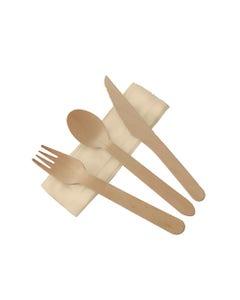FSC® wooden cutlery set waxed